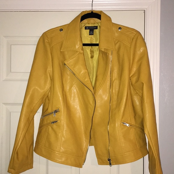 4529693c2bb INC International Concepts Jackets   Blazers - Mustard yellow faux leather  INC Moto jacket
